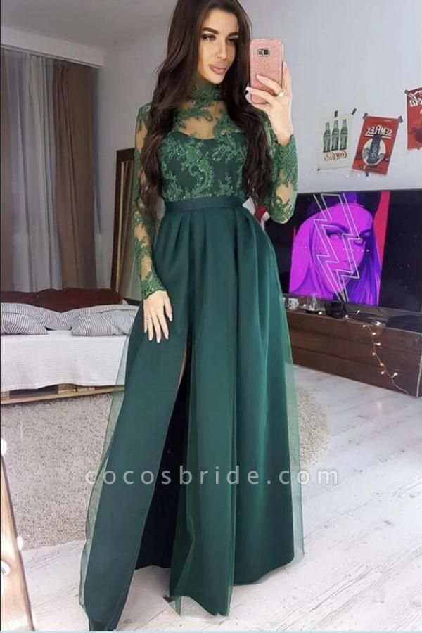 Long A-line High neck Satin Long Sleeves Prom Dress with Slit