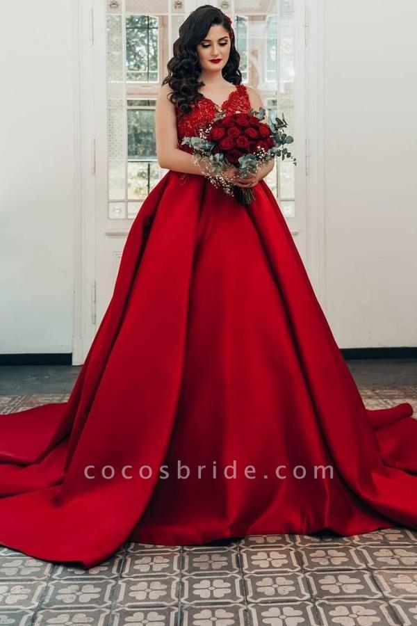 Luxury Long Princess Satin V-neck Wedding Dresses with Lace