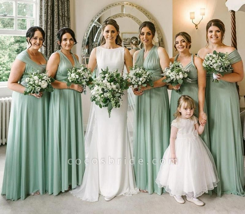 Long A-line Multiway Infinity Sage Green Bridesmaid Dress