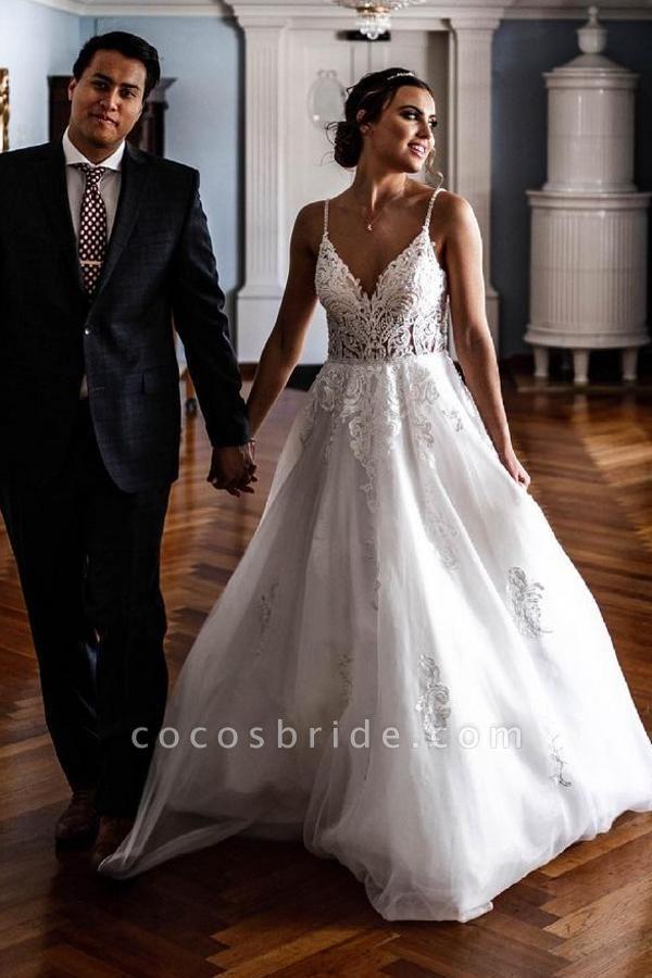 Elegant A-line Lace Tulle Spaghetti Strap Wedding Dress