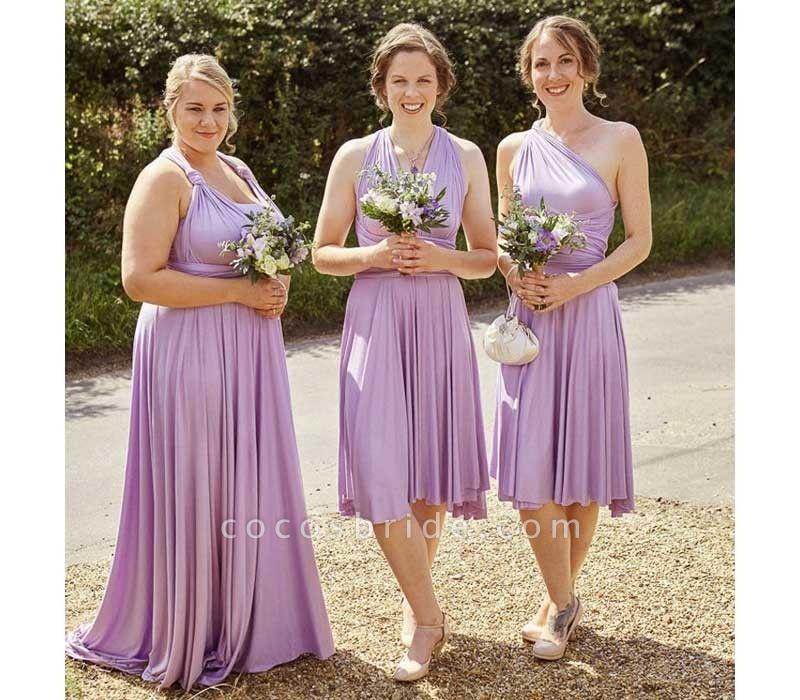 Cheap A-line Multiway Infinity Light Purple Bridesmaid Dress