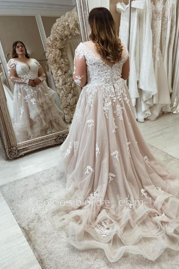 Long Plus Size A-Line Sweetheart Wedding Dresses with Lace Sleeves