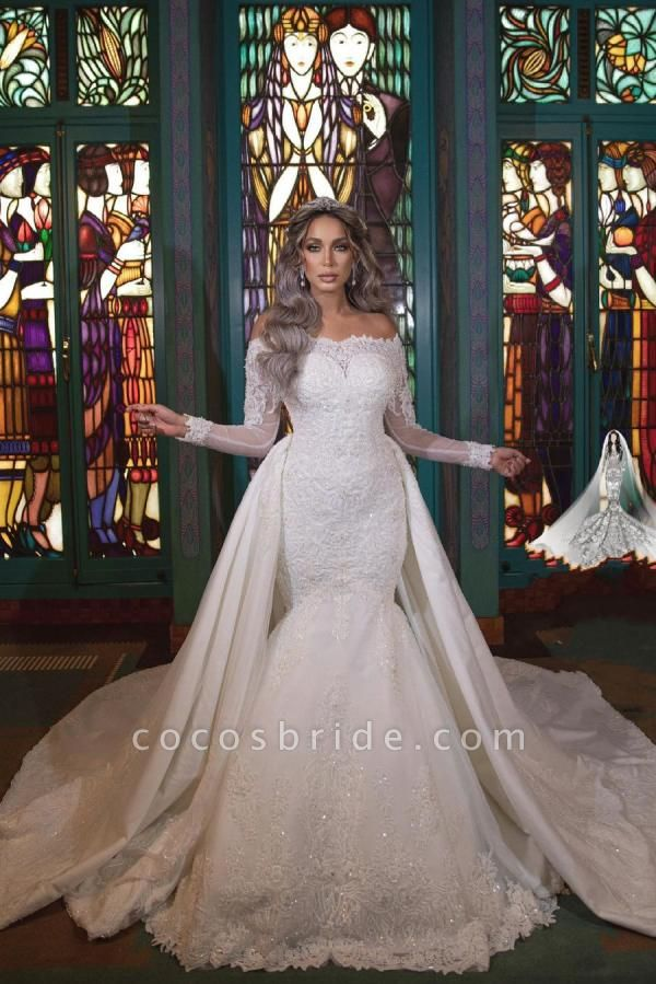 Long Mermaid Off-the-Shoulder Detachable Wedding Dresses With Sleeves