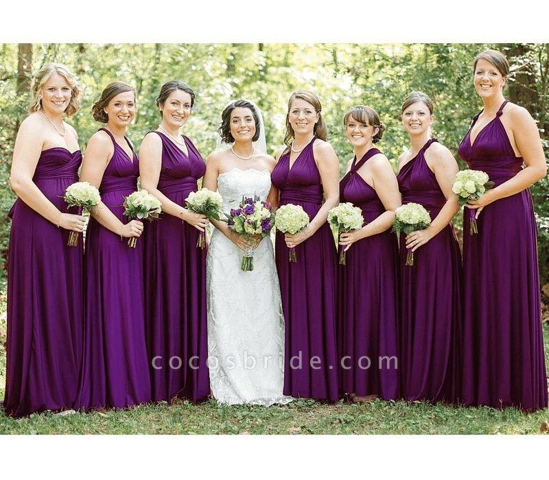 Long A-line Multiway Infinity Purple Bridesmaid Dress