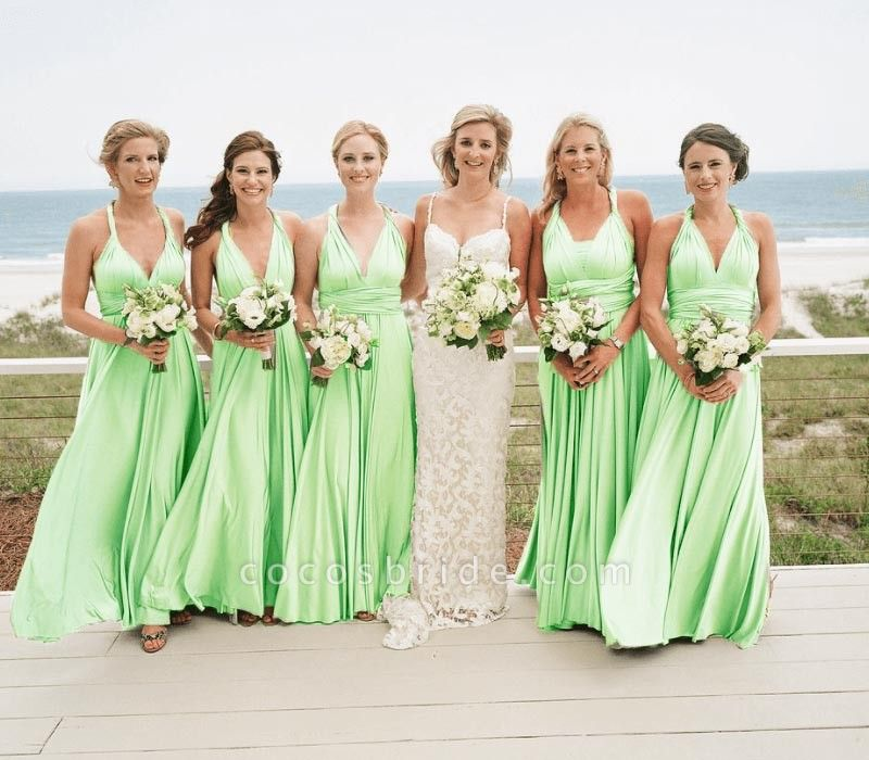 Long A-line Multiway Infinity Emerald Bridesmaid Dress