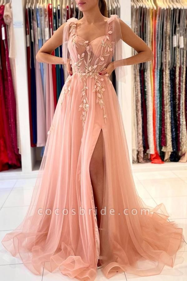 Long A-line Spaghetti Straps Tulle Prom Dress with Slit