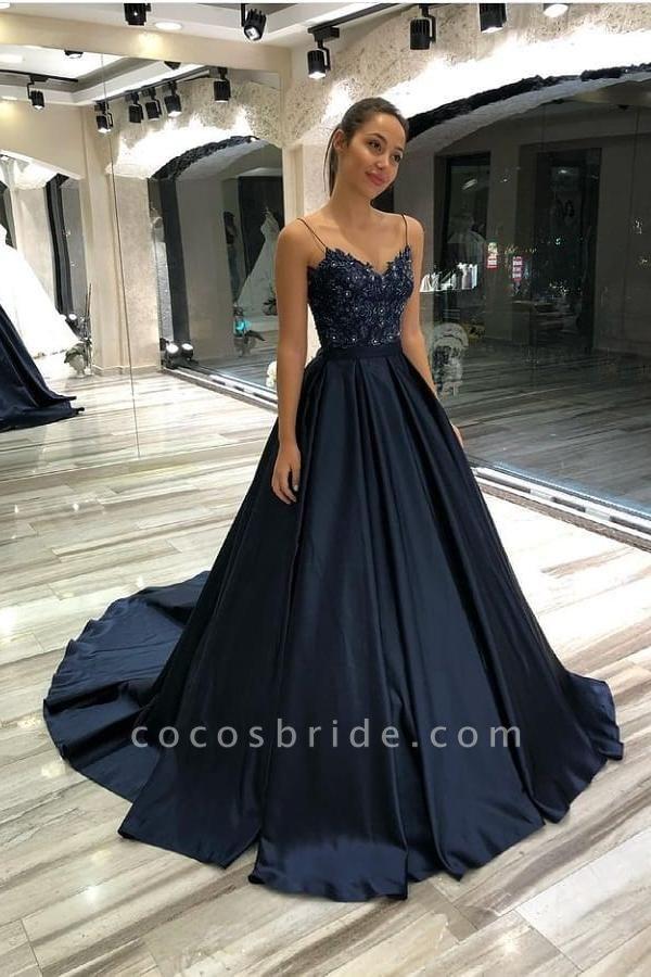 Long Princess Spaghetti Straps Sweetheart Satin Prom Dress