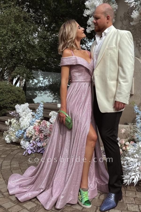 Elegant Long A-line Off-the-shoulder Glitter Prom Dress with Slit