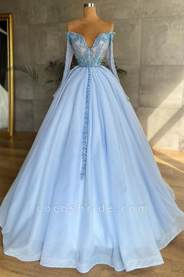 Princess Sweetheart Long Sleeves Tulle Formal Prom Dress