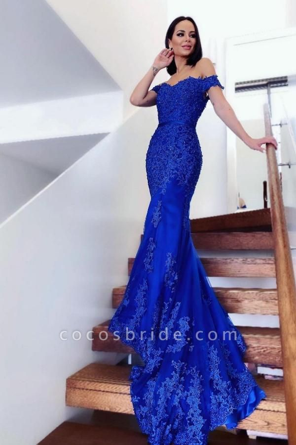 Elegant Long Mermaid Off-the-shoulder Lace Tulle Prom Dress
