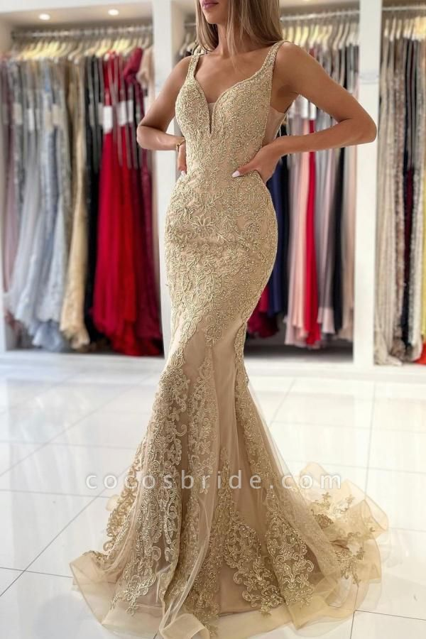 Long Mermaid Sweetheart Prom Dress with Floral Lace Appliques