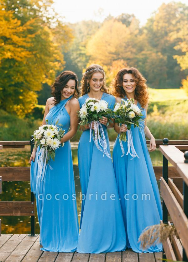 Convertible Blue Long Bridesmaid Dresses | Sexy Maid of Honor Dresses