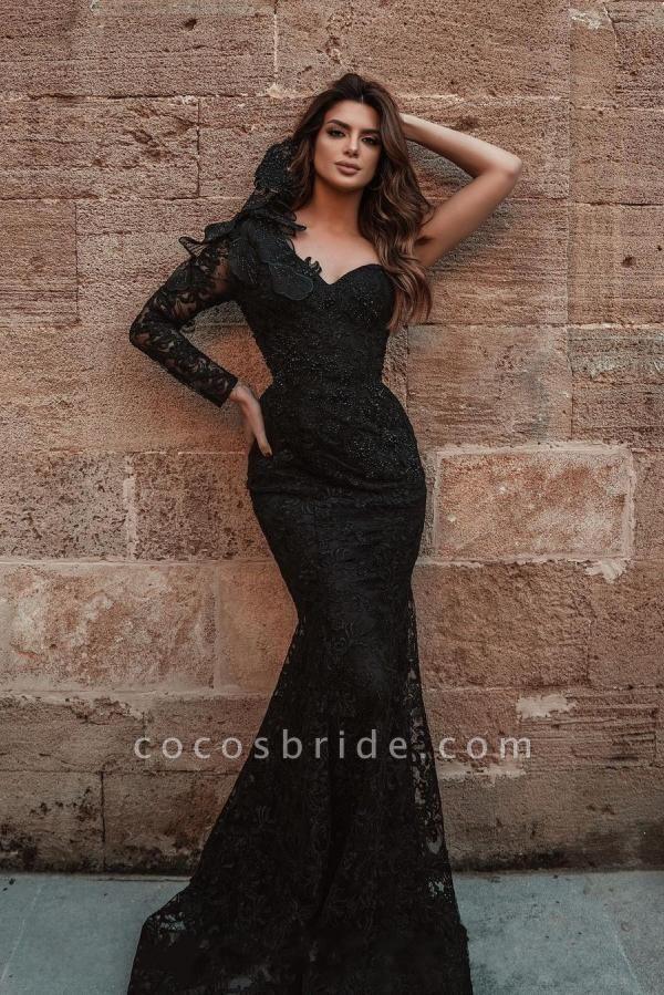 Elegant Long Mermaid One shouler Glitter Lace Prom Dress