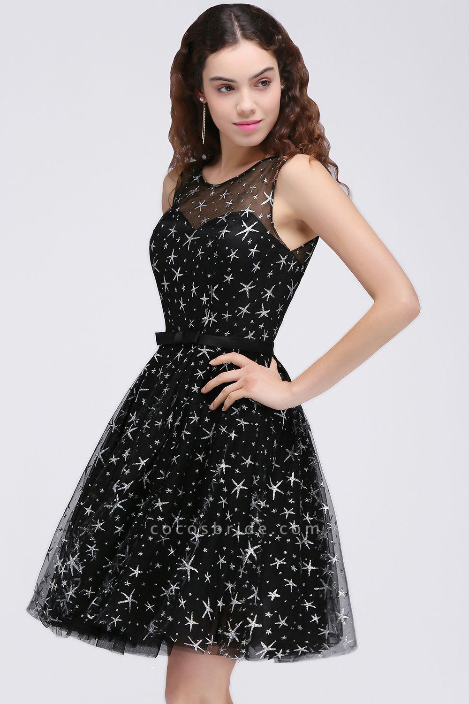ALISHA   A Line Jewel Sheer Tulle Little Black Short Homecoming Dresses
