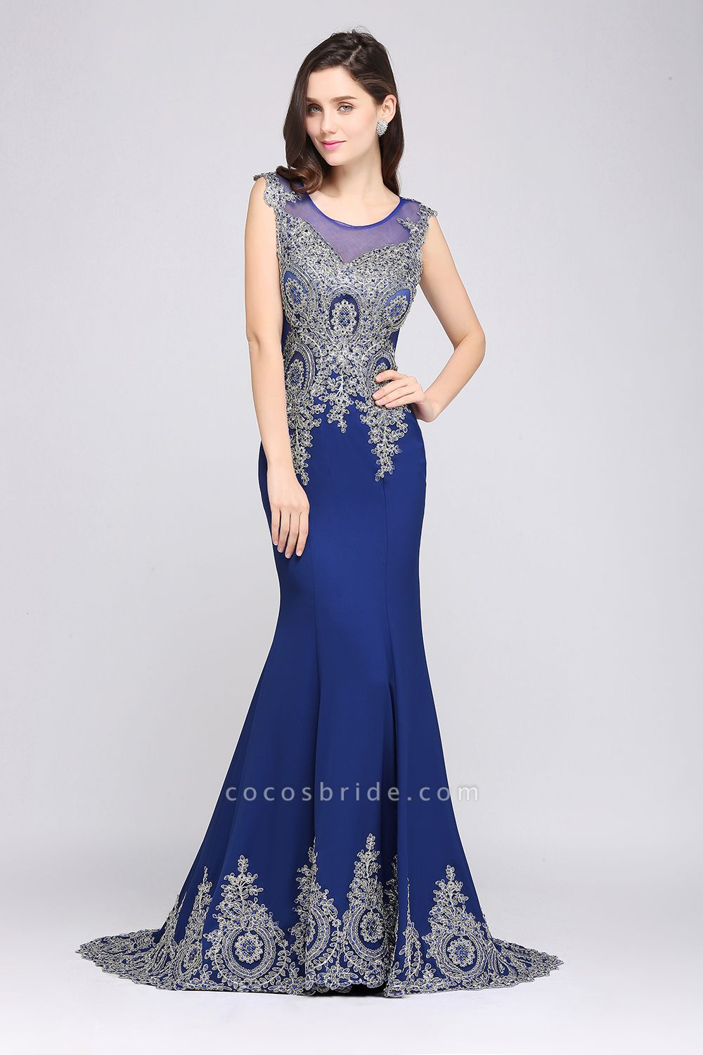 ANNIE | Mermaid Scoop Sweep Train Royal Blue Prom Dresses with Appliques