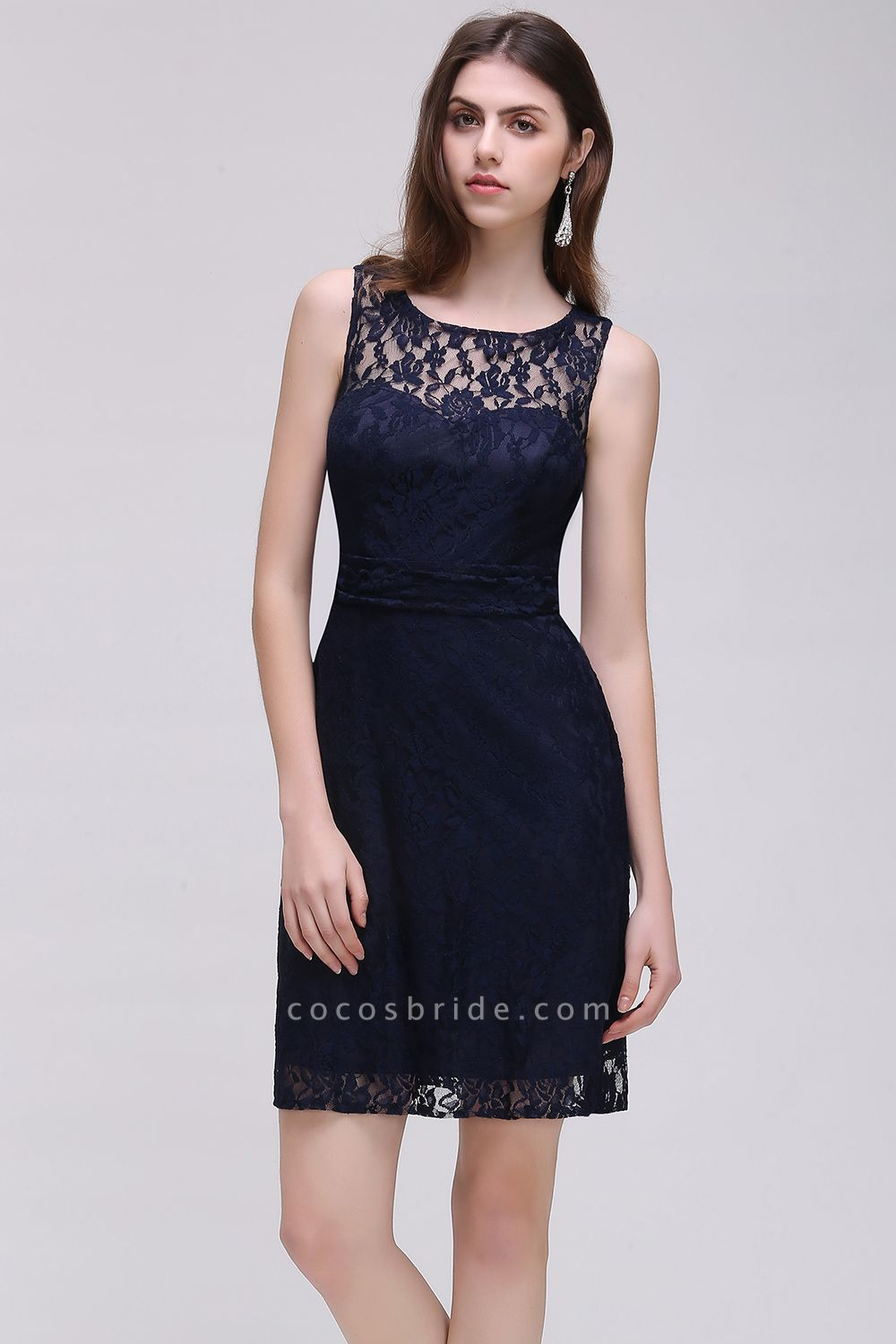 CHARLEIGH |Sheath Scoop neck Short Navy Blue Lace Prom Dresses