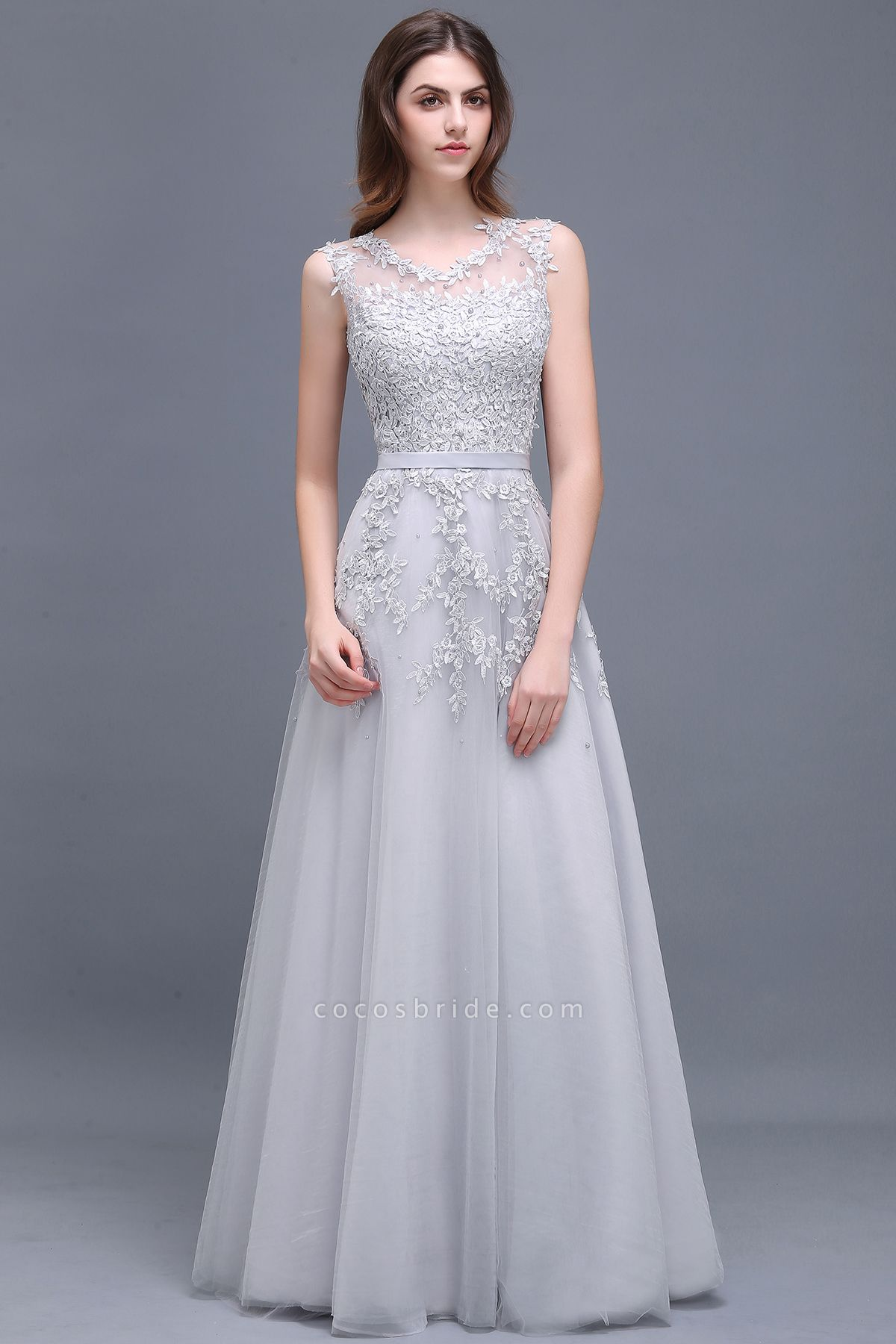 Beautiful V-neck Tulle A-line Evening Dress