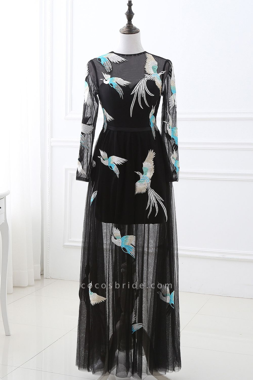 CHARLI | Sheath Round neck Embroidery Long Sleeves Black Prom Dress