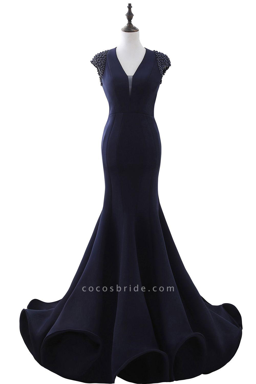 CAMILLA | Mermaid V-Neck Dark Navy Prom Dresses with Beading