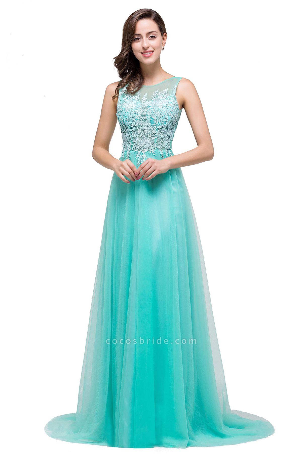 A-line Tulle Appliques Court Train Evening Dress