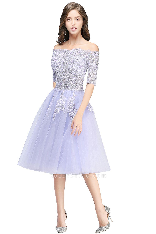 A-line Bateau Tulle Appliques Prom Dress
