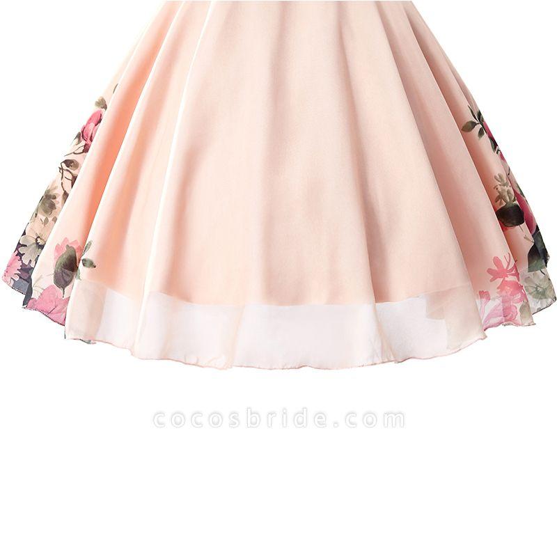 ELENA | A-line Sweetheart Sleeveless Print Ruffles Short Chiffon Prom Dresses