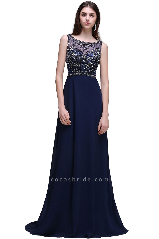 CALI | A-line Long Chiffon Dark Navy Vintage Prom Dresses with Rhinestones