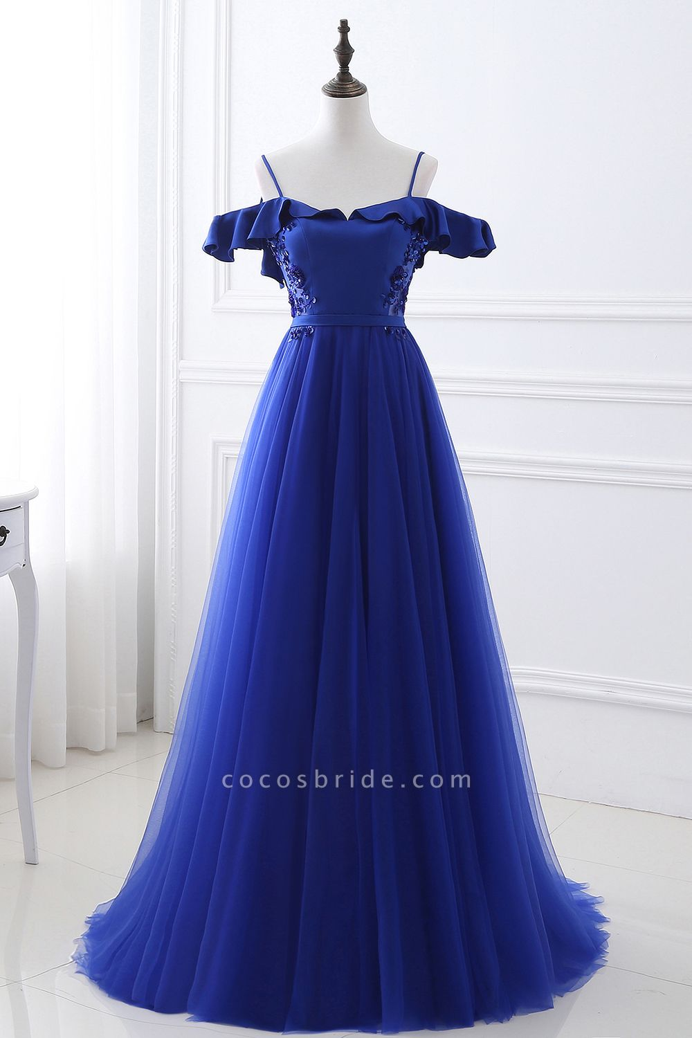 CHANEL   Ball Gown Off-the-shoulder Floor-length Blue Tulle Prom Dress