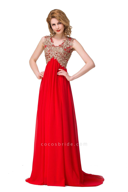 ESME | A-Line Floor-Length Sleeveless V-Neck Lace Appliques Prom Dresses