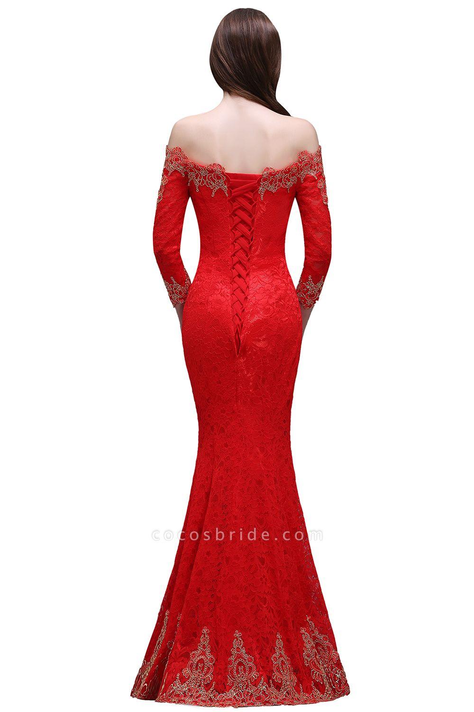 EMELIA | Mermaid Off-shoulder Floor-length Lace Appliques Prom Dresses