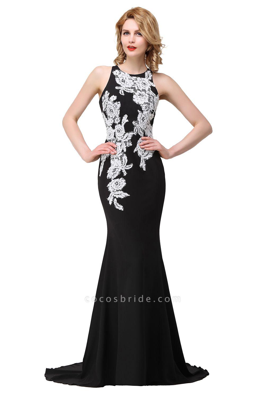 ERIN   Mermaid Crew Sleeveless Floor-Length Prom Dresses With Appliques