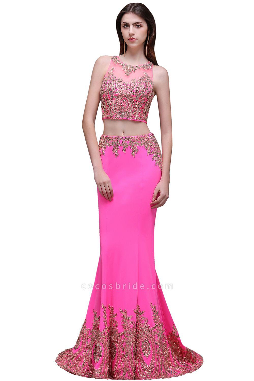 Fascinating Jewel Stretch Satin Column Prom Dress