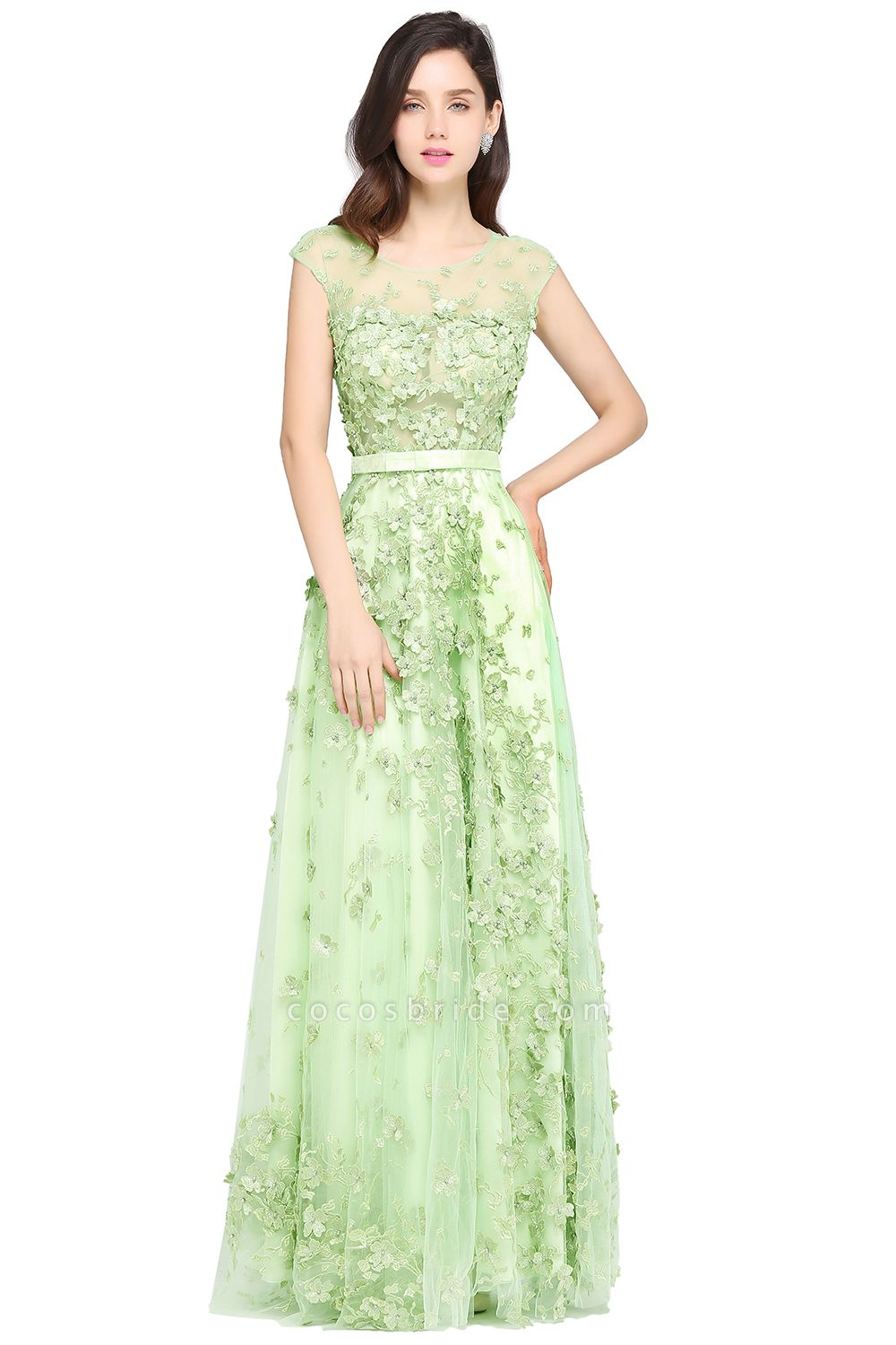 ARDEN | A-line Floor Length Tulle Green Prom Dresses with Appliques