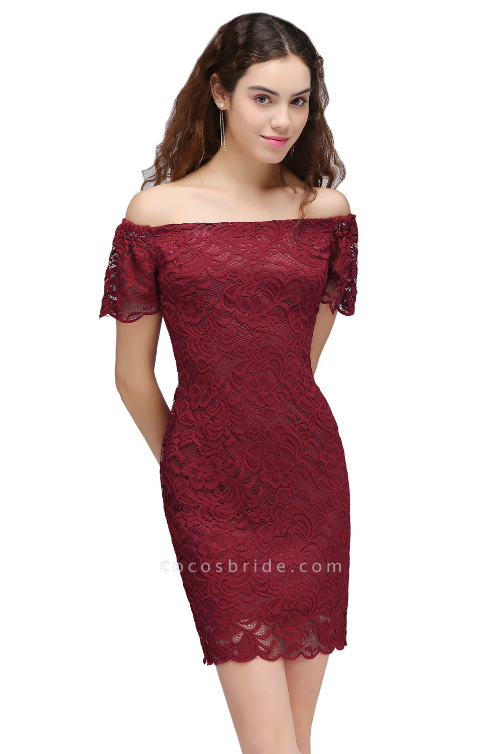 Chic Off-the-shoulder Lace Column Homecoming Dress