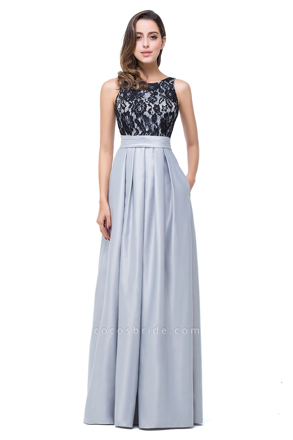ELLIE | A-line Floor-length Crew Chiffon Lace Bridesmaid Dresses