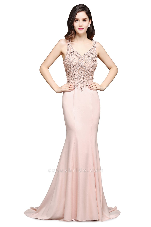 Modest V-neck Stretch Satin Mermaid Evening Dress