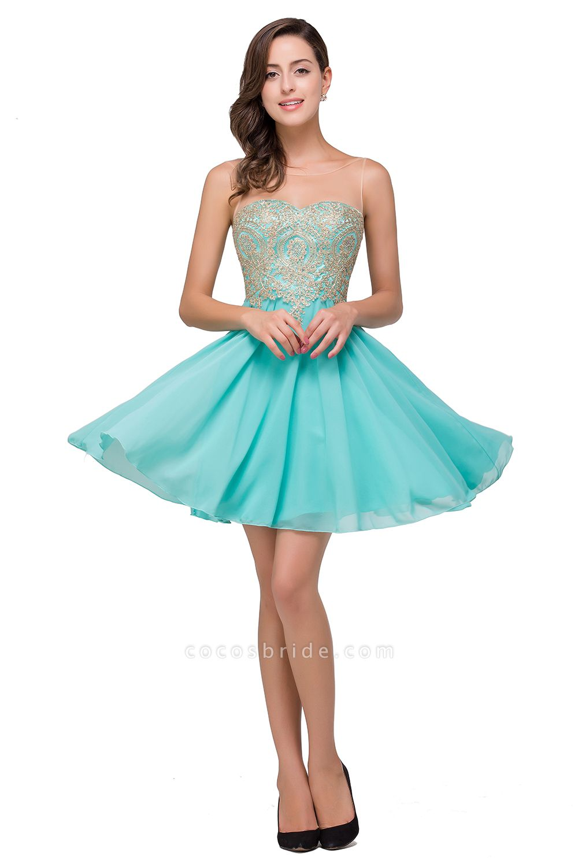 Appliques Elegant Short Sleeveless Chiffon Prom Dresses