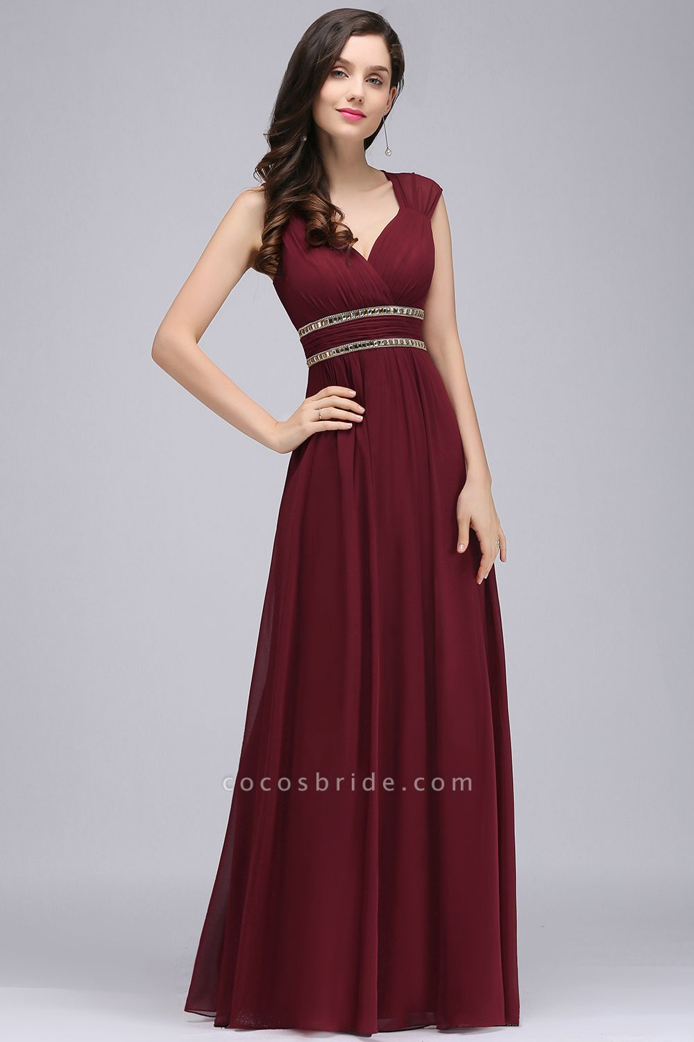 V-neck Cap Sleeves Chiffon Column Floor Length Bridesmaid Dress
