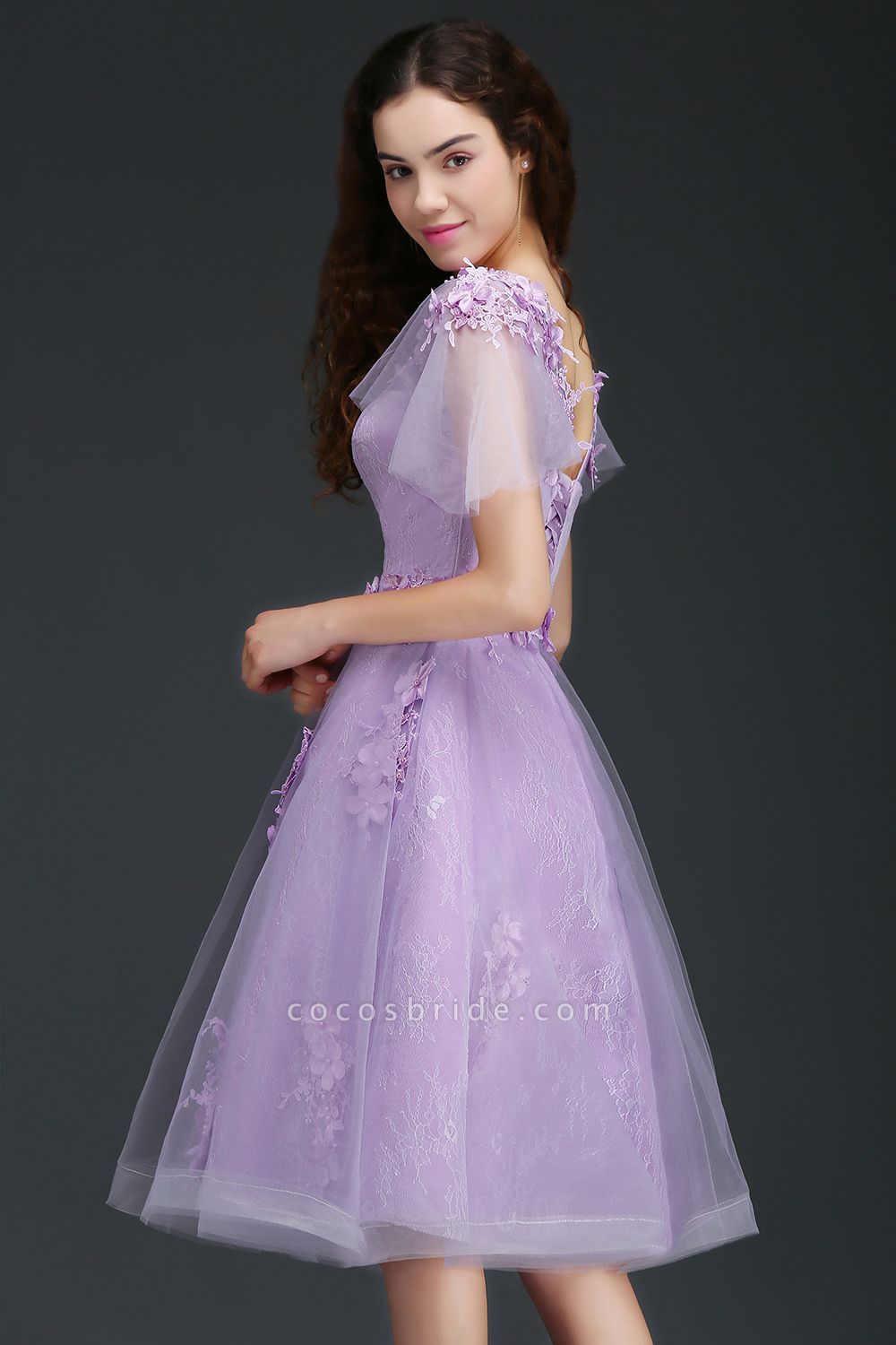 ALIANA | A Line V Neck Lilac Short Cocktail Homecoming Dresses With Sleeve