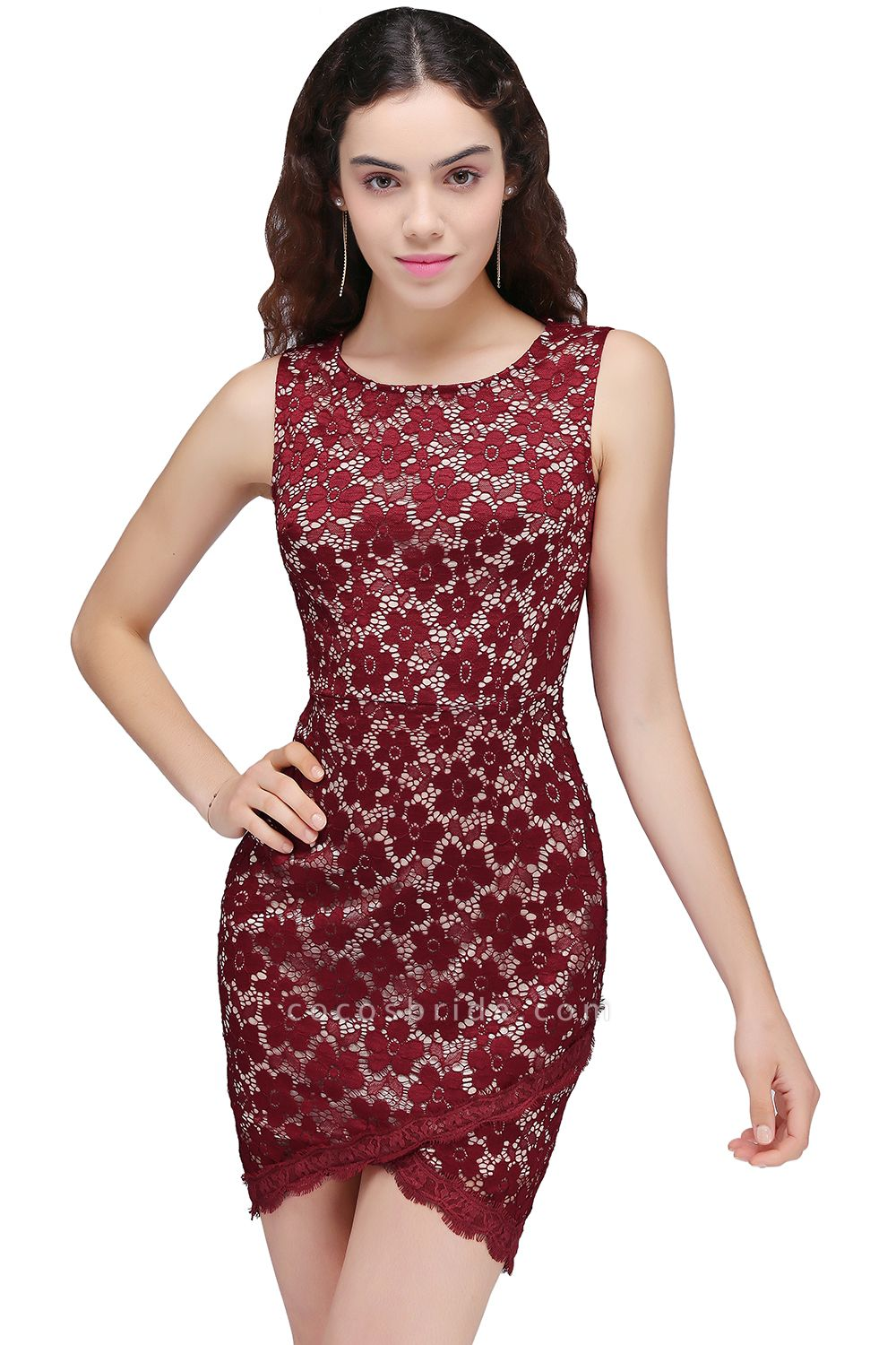 Burgundy Bodycon Round Neck Short Lace Homecoming Dresses