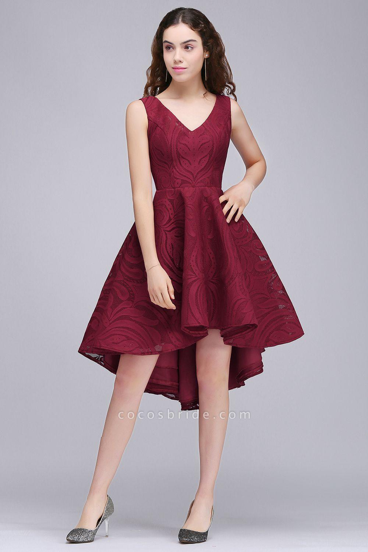 ALEJANDRA | A Line V Neck Burgundy Lace Cocktail Homecoming Dresses