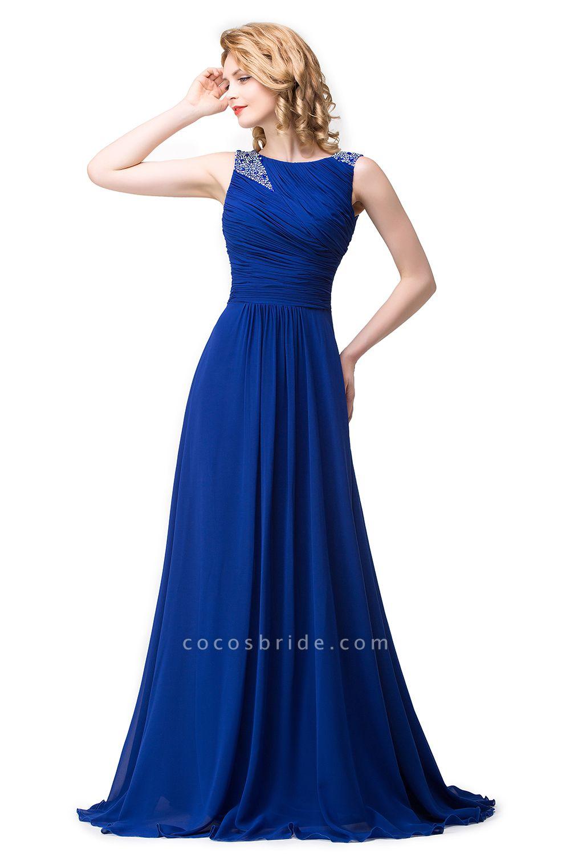 Excellent Bateau Chiffon A-line Evening Dress