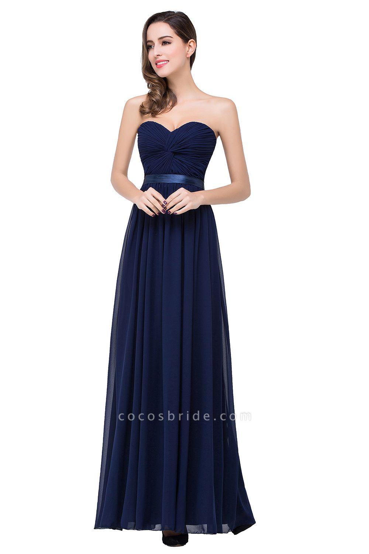 ADELINA | A-line Strapless Chiffon Bridesmaid Dress with Draped