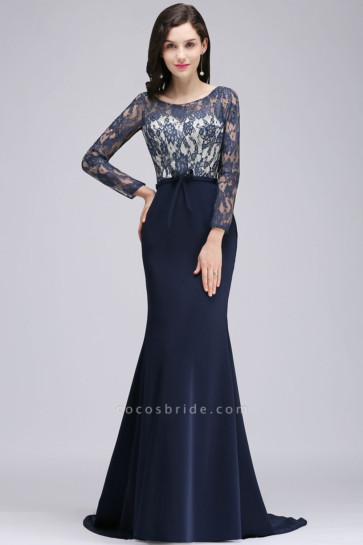Long Sleeves Satin Mermaid Floor Length Bridesmaid Dress
