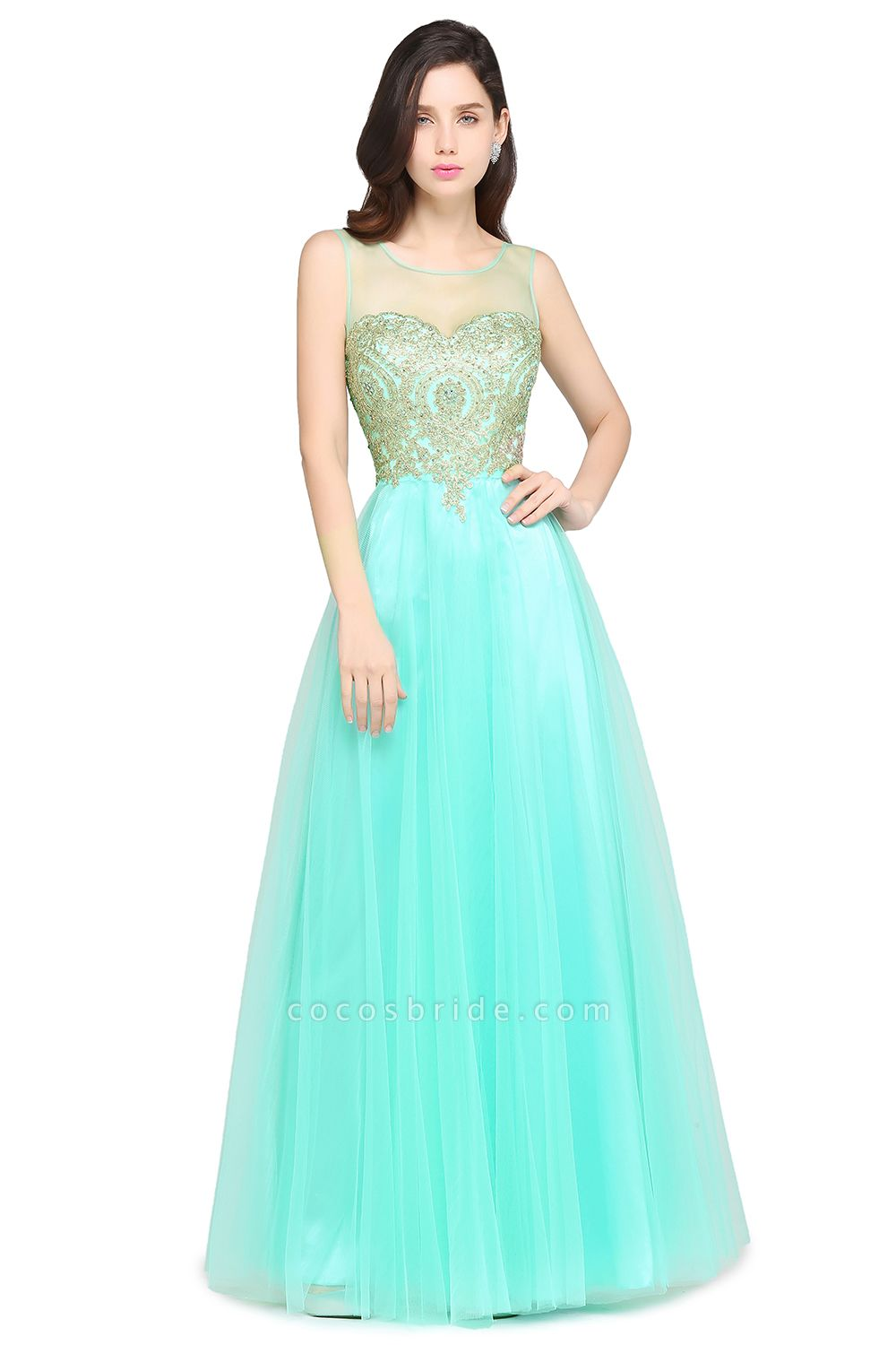 ARIA | A-line Scoop Tulle Gorgeous Evening Dresses with Appliques
