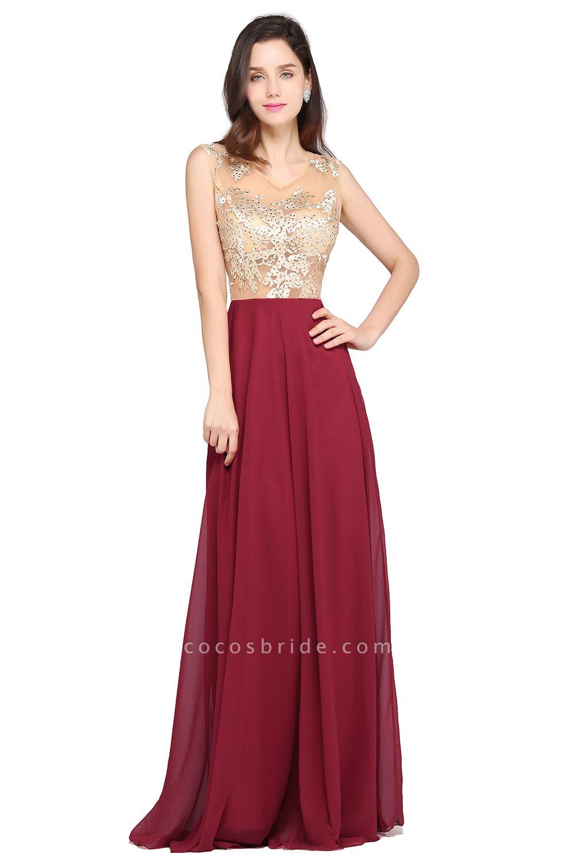 APRIL | A-line Scoop Chiffon Burgundy Pretty Evening Dresses