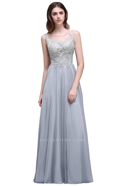 Scoop Chiffon A-line Floor Length Bridesmaid Dress