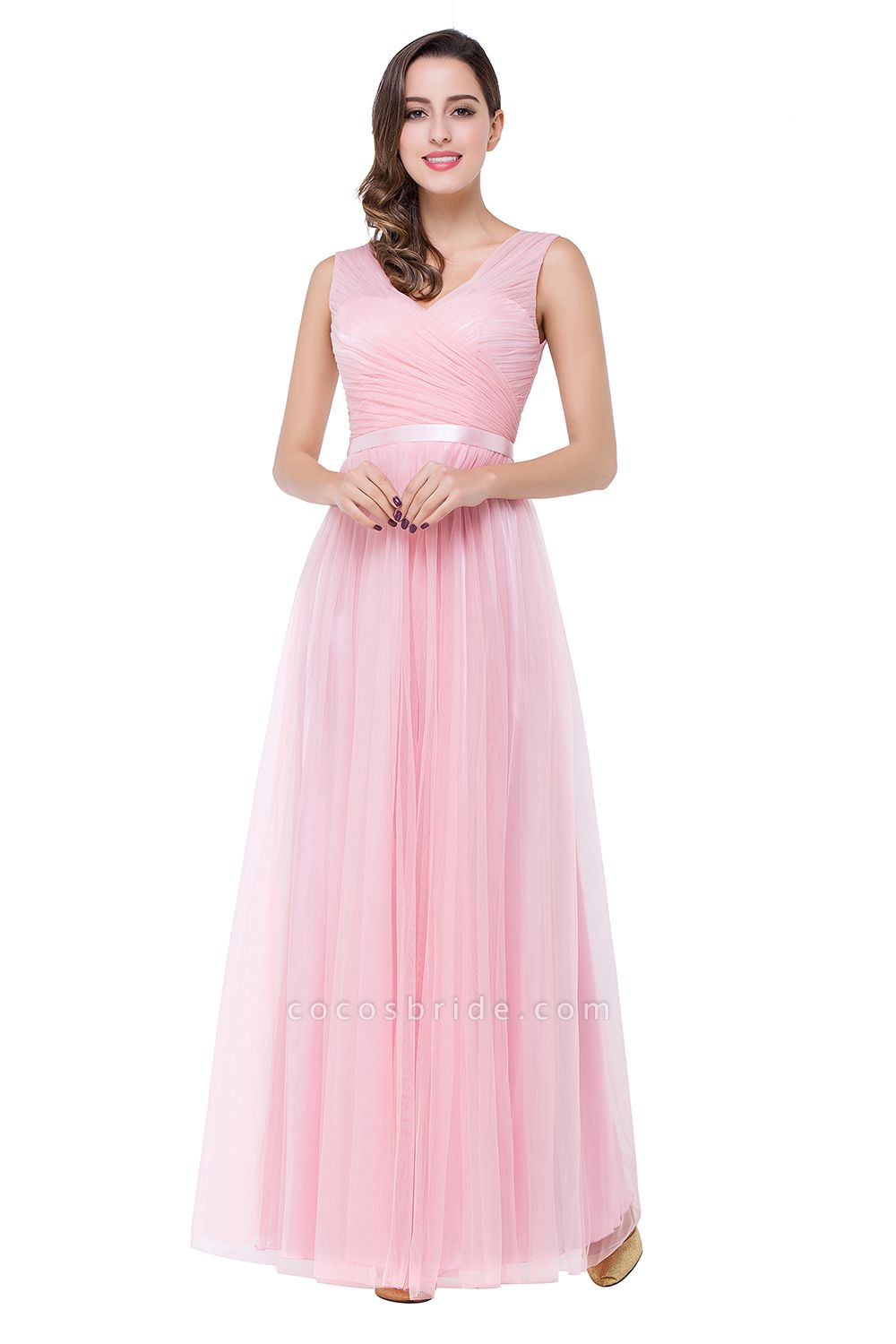 ELLIOT | A-line Sleeveless V-neck Floor-length Tulle Bridesmaid Dresses