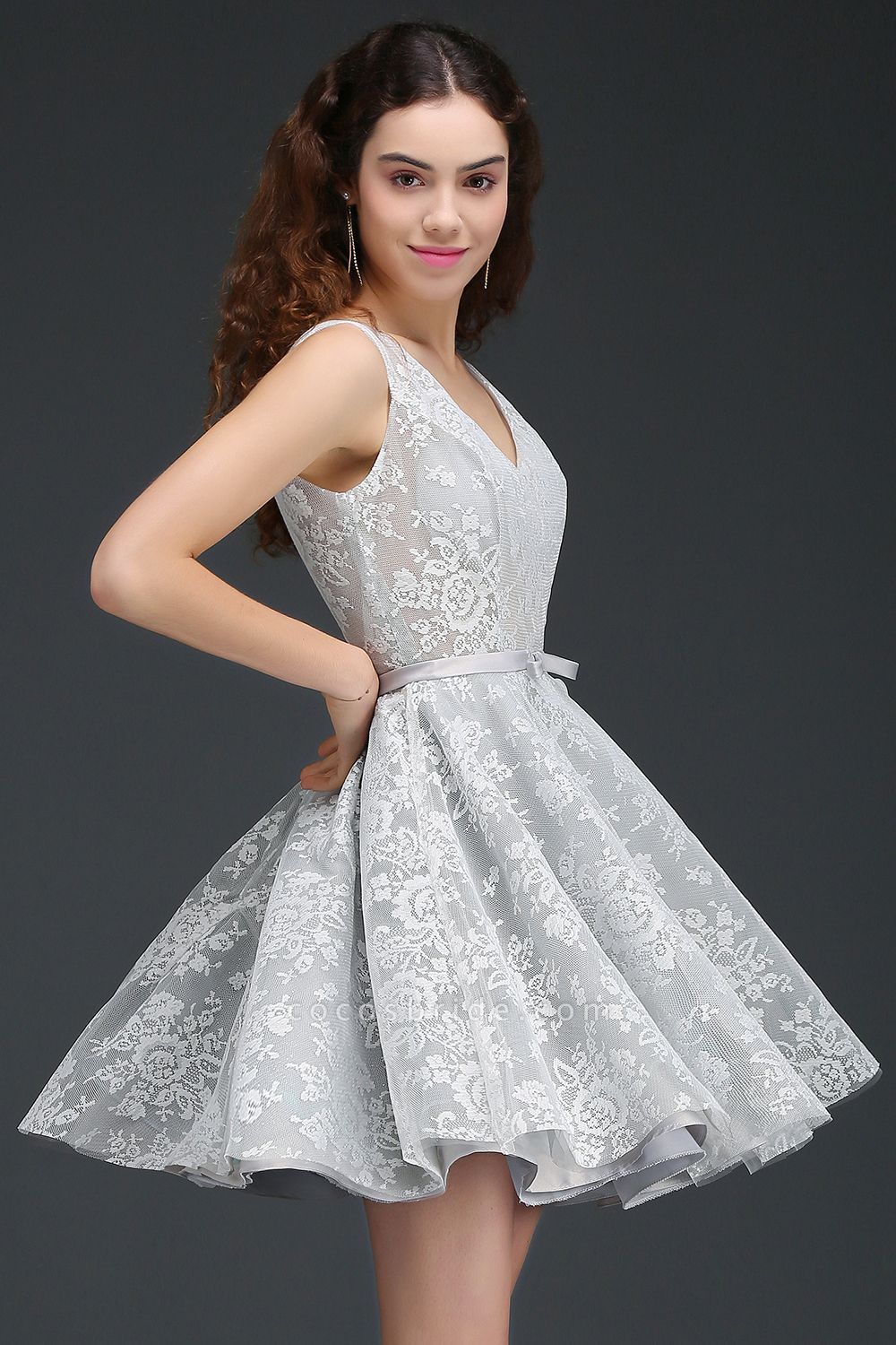 ALEAH | A Line Strtaps Lace Cocktail Homecoming Dresses With Sash