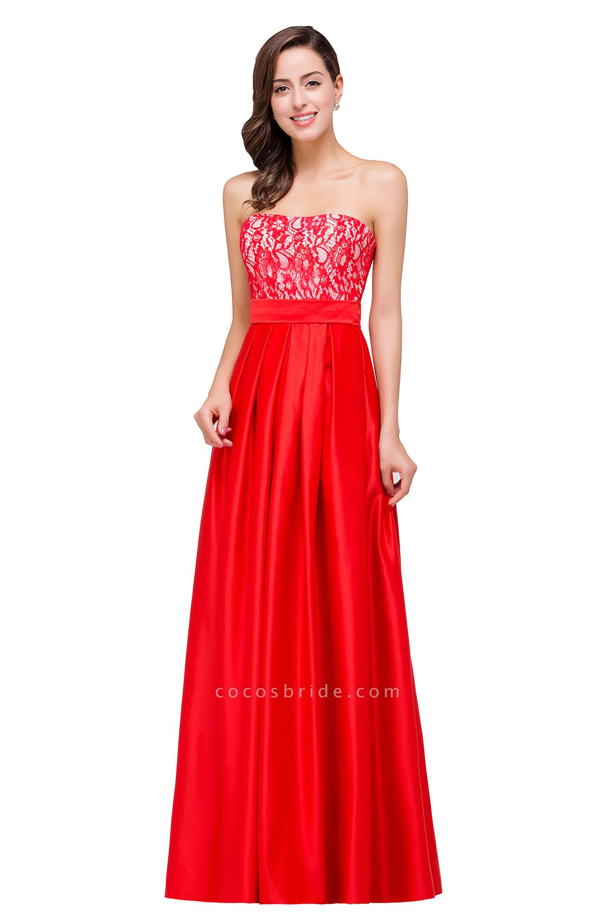 EVERLY | A-line Sleeveless Sweetheart Floor-Length Red Chiffon Prom Dresses